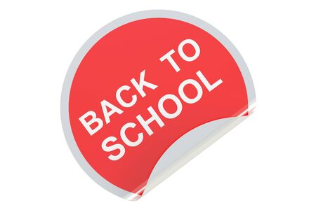 peeling corner: Back to School circle sticker, sale and discount concept. 3D rendering