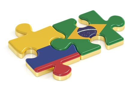 Brazil and Columbia puzzles from flags, 3D rendering Stock Photo