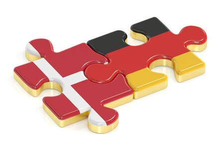 Germany and Denmark puzzles from flags, 3D rendering