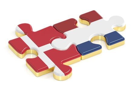danish flag: Netherlands and Denmark puzzles from flags, 3D rendering Stock Photo