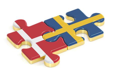 Suécia e Dinamarca quebra-cabeças de bandeiras, renderização em 3D