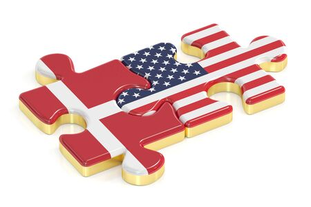 danish flag: USA and Denmark puzzles from flags, 3D rendering