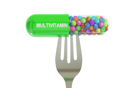 multivitamin: fork with multivitamin capsule, 3D rendering isolated on white background Stock Photo