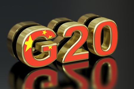 economic issues: Summit G20 in China meeting concept, 3D rendering Stock Photo