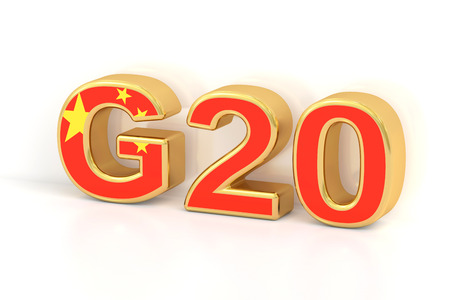 economic issues: Summit G20 concept. Chinese G20 meeting, 3D rendering Stock Photo