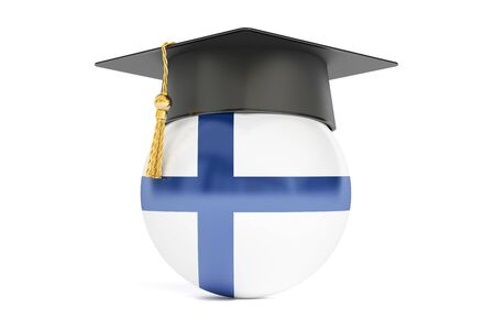 alumnus: education in Finland, concept, 3D rendering isolated on white background