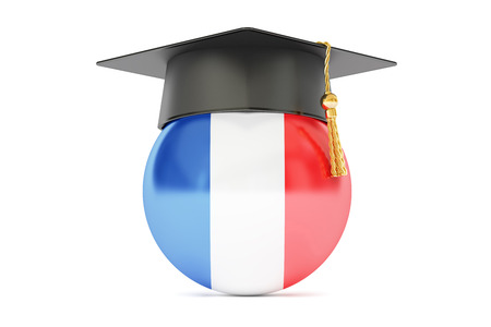education in France, concept, 3D rendering isolated on white background