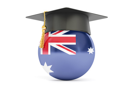 alumnus: education in Australia, concept, 3D rendering isolated on white background