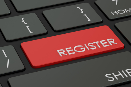 signup: Register button, red hot key on  keyboard. 3D rendering