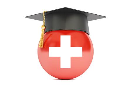 vzdělávání a studium ve Švýcarsku koncepce, 3D vykreslování izolovaných na bílém pozadí Reklamní fotografie