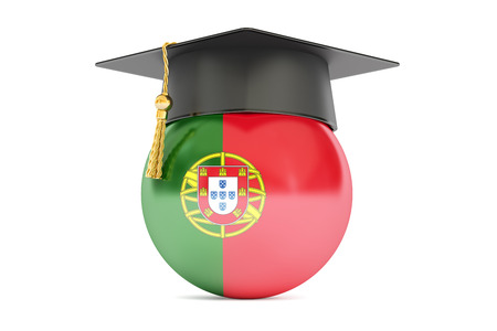 commencement: education and study in Portugal concept, 3D rendering isolated on white background