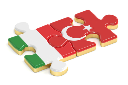 italian politics: Turkey and Italy puzzles from flags, 3D rendering