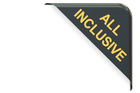 inclusive: all inclusive black corner. 3D rendering Stock Photo