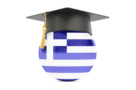 commencement: education and study in Greece concept, 3D rendering isolated on white background