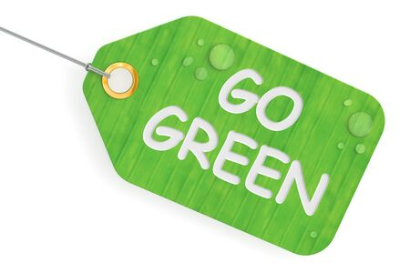 go green background: go green concept, green tag. 3D rendering isolated on white background