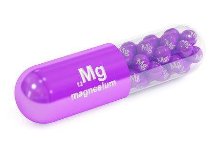 magnesium: Capsule with magnesium Mg element Dietary supplement, 3D rendering isolated on white background