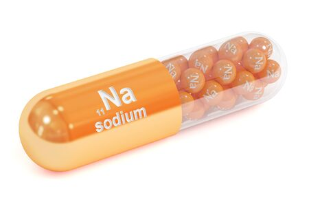 Capsule with sodium Na element Dietary supplement, 3D rendering isolated on white background