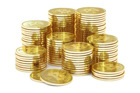 net trade: Golden Bitcoins, 3D rendering isolated on white background