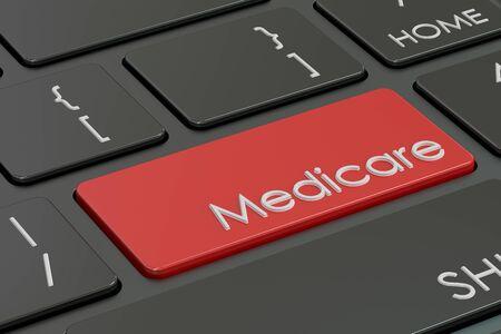 medicare: Medicare button, red hot key on  keyboard 3D rendering