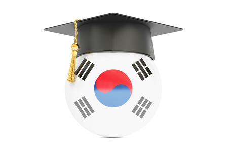 alumnus: education and study in South Korea concept, 3D rendering isolated on white background