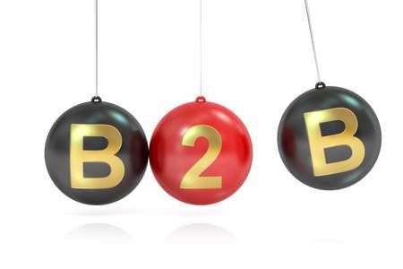 b2b: B2B concepto, representación 3D aislada en el fondo blanco