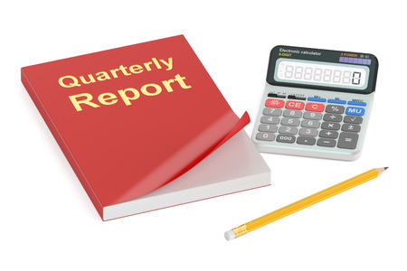 quarterly: Quarterly report concept, 3D rendering isolated on white background