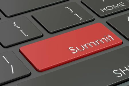 summit: Summit, red hot key on the keyboard , 3D rendering Stock Photo