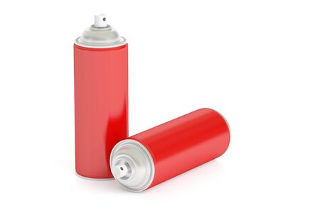 red spray cans, 3D rendering isolated on white background