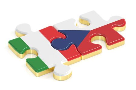 Czech Republic and Italy puzzles from flags, 3D rendering