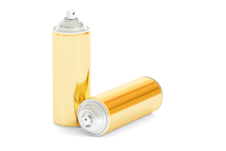 golden spray cans, 3D rendering isolated on white background