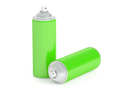 green spray cans, 3D rendering isolated on white background Stock Photo