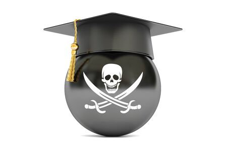 counterfeit: pirate flag with a graduation cap, 3D rendering Stock Photo