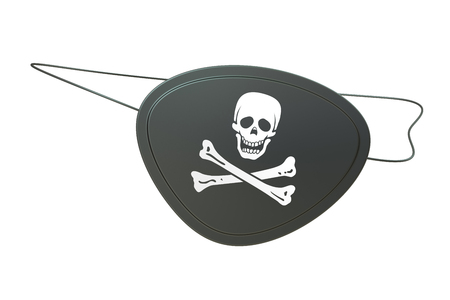 eye patch: Black leather pirate eye patch, 3D rendering isolated on white background Stock Photo