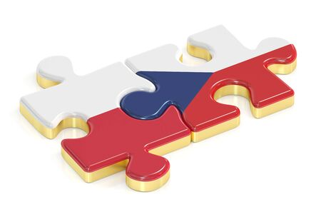 the czech republic: Czech Republic and Poland puzzles from flags, 3D rendering