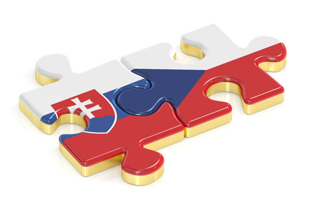 Czech Republic and Slovakia puzzles from flags, 3D rendering