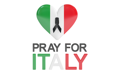 quake: Pray for Italy concept with heart, 3D rendering isolated on white background