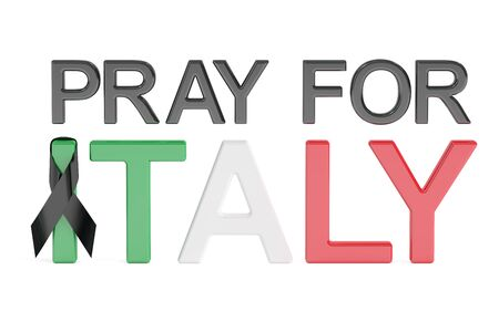quake: Pray for Italy concept, 3D rendering isolated on white background