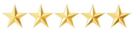 5 つ星の評価概念の分離の白い背景を描画の 3 D 写真素材