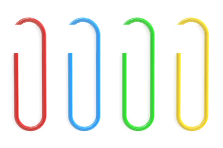 paperclips: Colored Paperclips and Paper isolated on white background