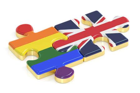 Gay Pride Rainbow and EK puzzles from flags, 3D rendering