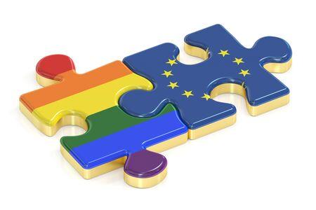 relaciones sexuales: Gay arco iris del orgullo y de la UE rompecabezas de banderas, 3D Foto de archivo