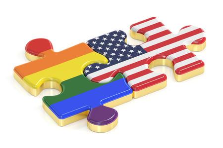 relaciones sexuales: Gay arco iris del orgullo y USA rompecabezas de banderas, 3D