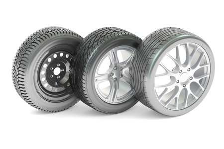 Set of car wheels, 3D rendering isolated on white background