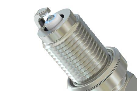 점화 플러그의 근접 촬영, 3D 흰색 배경에 고립 된 렌더링