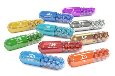 Capsule con Mn, Ca, K, Se, Zn, Cu, Fe, Mg, io, elemento Na integratore alimentare, rendering 3d isolato su sfondo bianco