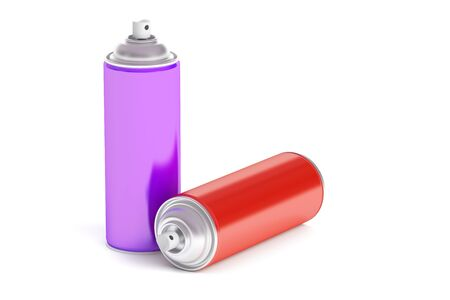 colored spray paint cans, 3D rendering isolated on white background Stock Photo