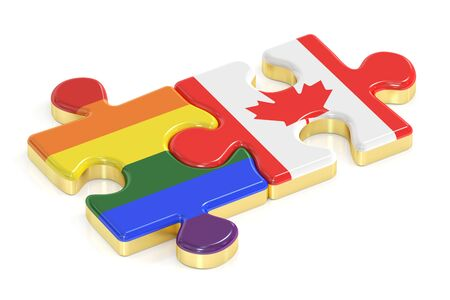 Gay Pride Rainbow and Canada puzzles from flags, 3D rendering