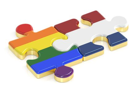Gay Pride Rainbow and Netherlandish puzzles from flags, 3D rendering