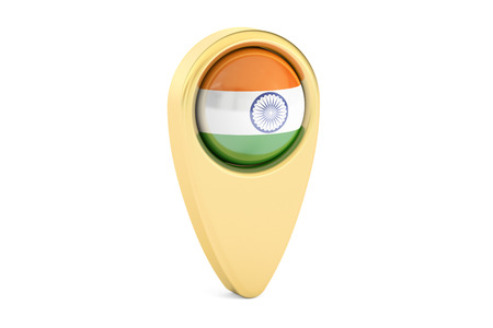 india 3d: map pointer with flag of India, 3D rendering isolated on white background