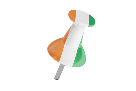 Push pin with flag of Ireland, 3D rendering isolated on white background Stock Photo